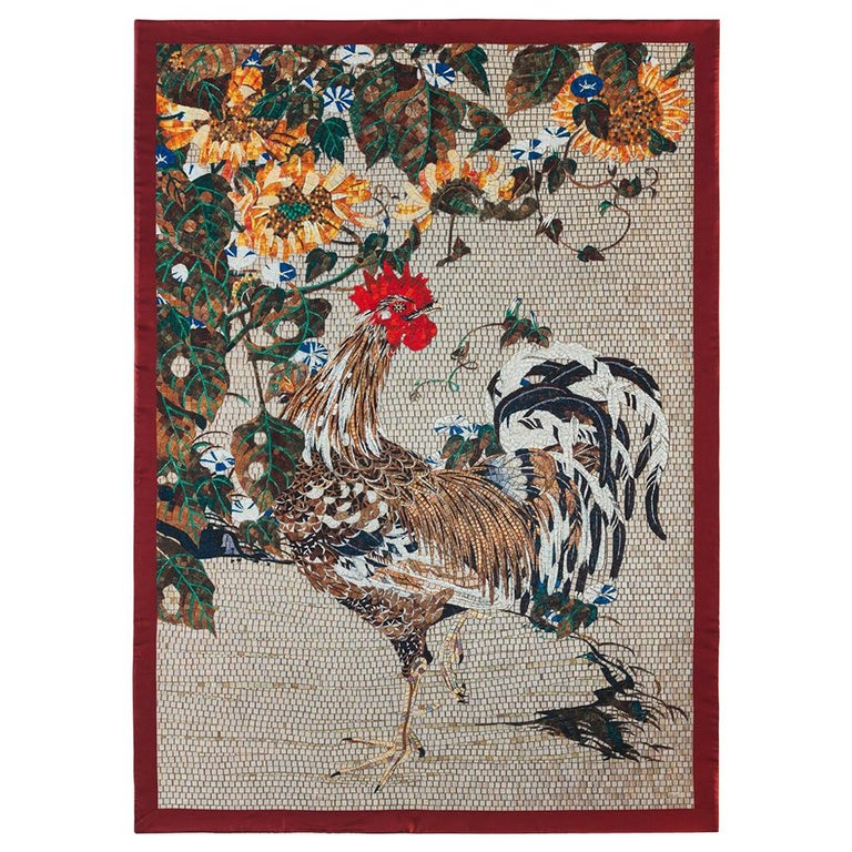 Amazing Rooster Bed-Cover Blanket Silk Cashmere Wool For Sale