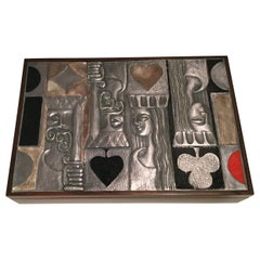 Amazing Rosewood and Sterling Italian Game box by Ottaviani