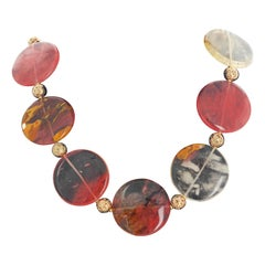 "Gemjunky Magnificent Rutilated Character Quartz & Gold Plated Lava 22"" Necklace"
