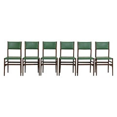 Set of 12 Green and Palissander Leggera Chairs by Gio Ponti Cassina 1950