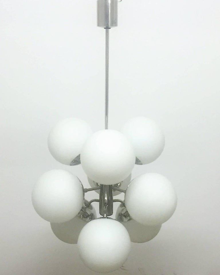 Mid-Century Modern Amazing Set of Nine Nickelled Sputnik Bubble Chandeliers, Germany, 1956 For Sale