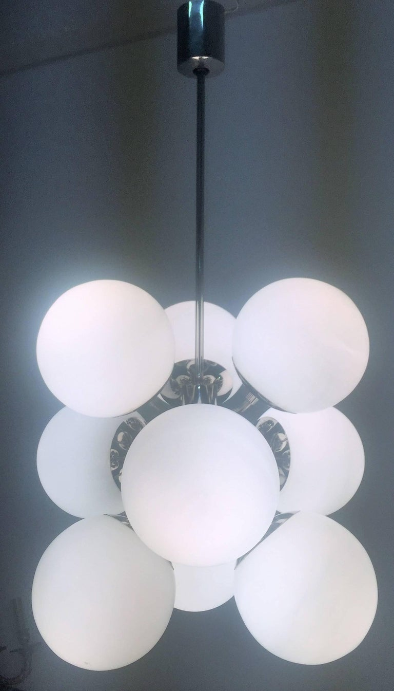 Amazing Set of Nine Nickelled Sputnik Bubble Chandeliers, Germany, 1956 For Sale 1
