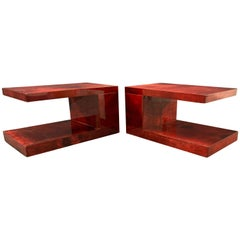 Amazing Set of Two Aldo Tura Tables