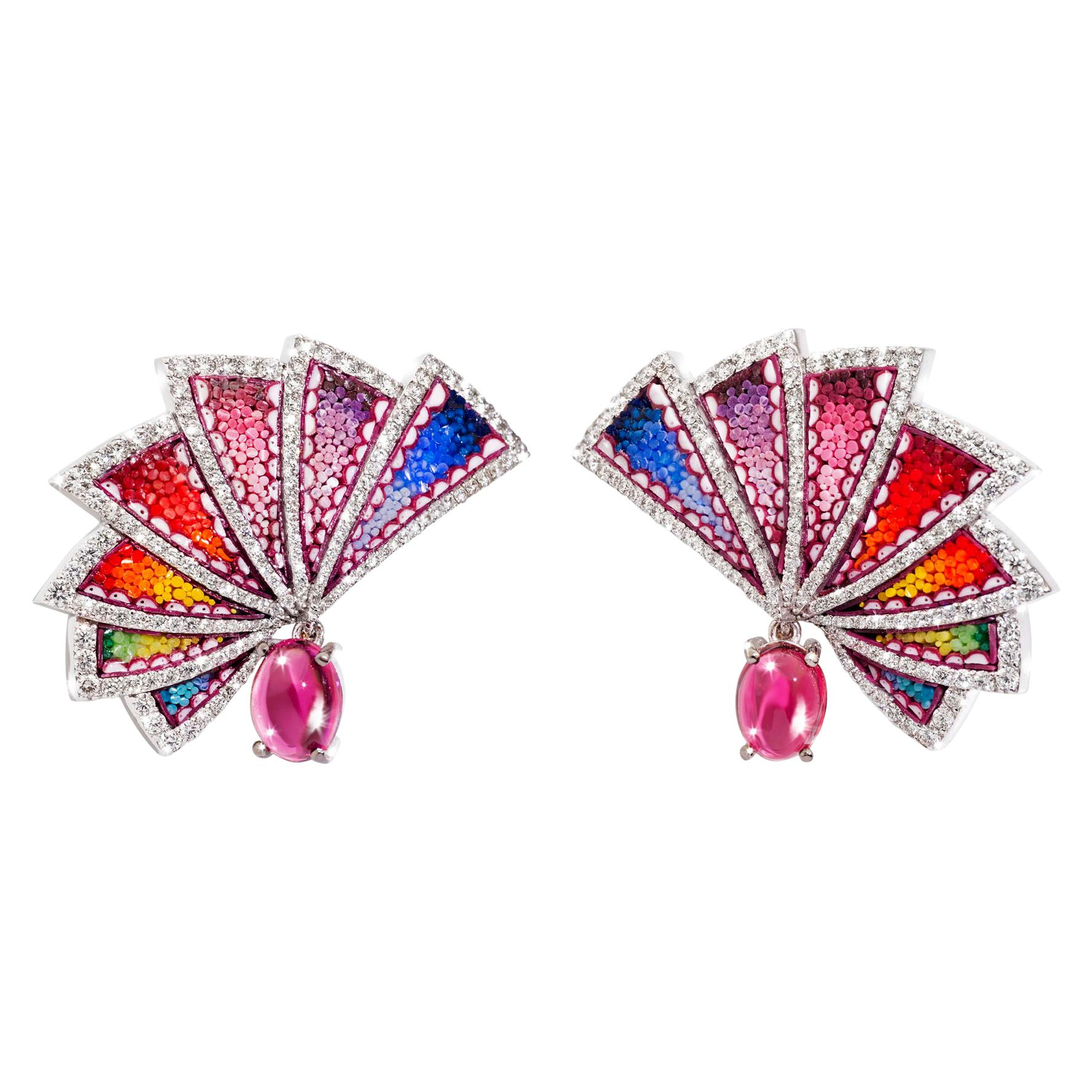Earrings White Gold White Diamonds Rubelite HandDecorated with Micromosaic