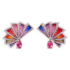 Amazing Sicis Aura Eos Earrings White Diamonds Rubelite White Gold Micromosaic
