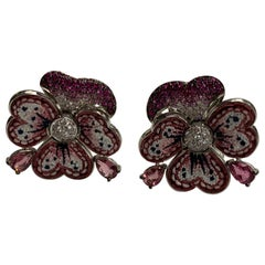Amazing Sicis Earrings White Diamonds Pink Sapphires Tourmaline Micromosaic
