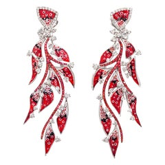 Amazing Sicis Nebulosa Earrings White Diamonds Sapphires White Gold Micromosaic