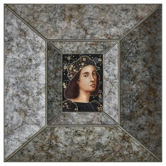 Amazing Sicis Raffaello Micromosaic Canvas White Diamonds Gold Silver Jet