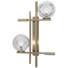 Amazing Wall Sconce Lamp Champagne Finish Murano Spheres Leather Insert
