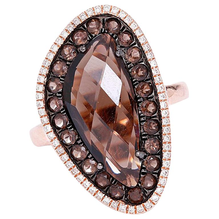 Amazing Smoky Quartz and Diamond Ring