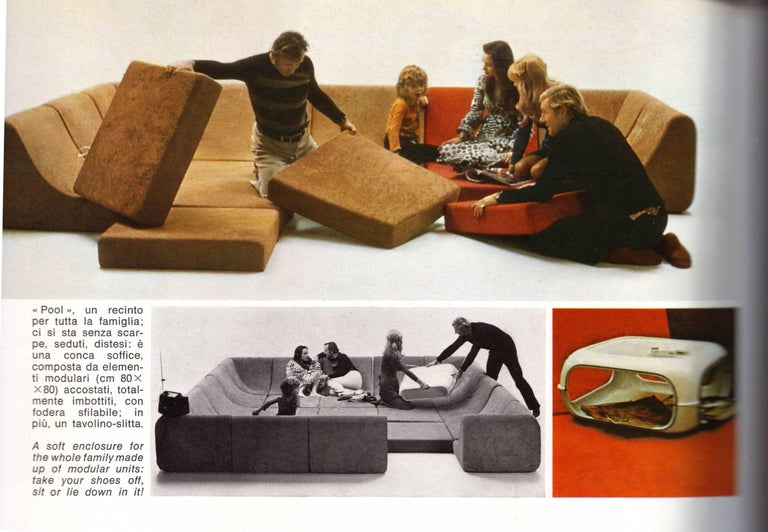 Wool Amazing Space Age 'Pool' Modular Sofa, Luigi Colani for Rosenthal Germany, 1970 For Sale
