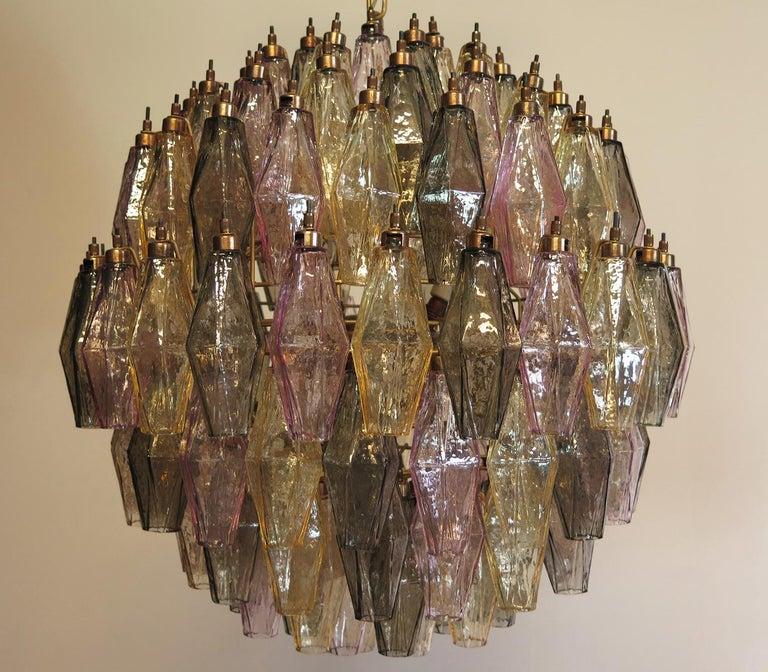 Mid-Century Modern Amazing spherical Murano poliedri Candelier - 140 multicolored glasses