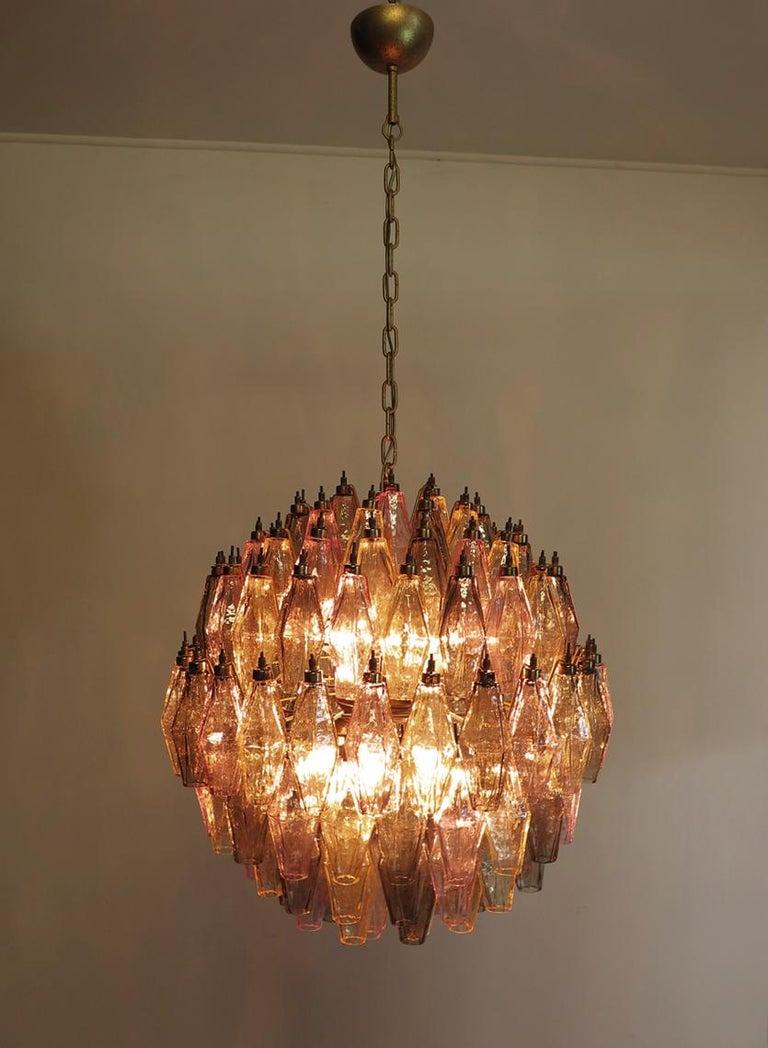 Late 20th Century Amazing spherical Murano poliedri Candelier - 140 multicolored glasses