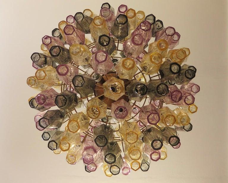 Amazing spherical Murano poliedri Candelier - 140 multicolored glasses 1