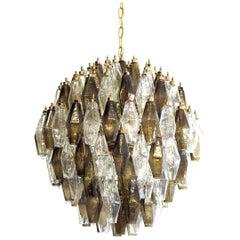 Amazing Spherical Murano Poliedri Candelier, 140 Poliedri Transparent and Smoked