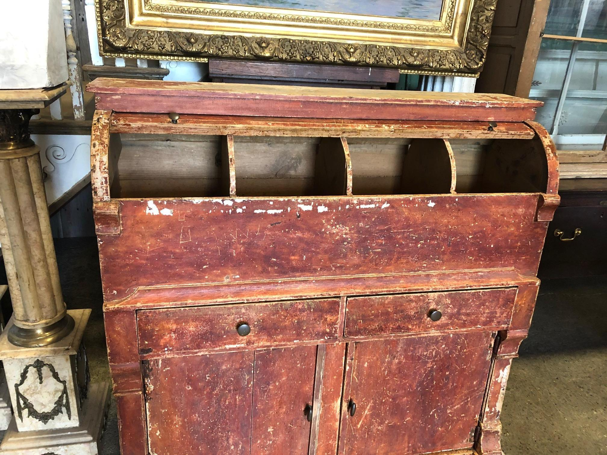 Amazing Swedish One of a Kind Red Distressed Painted Wood Grocery Cabinet