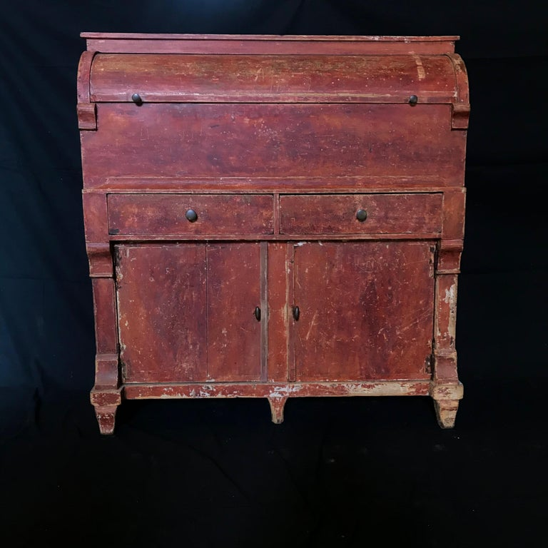 Amazing Swedish Early 19th Century Red Distressed Gustavian Grocery Cabinet