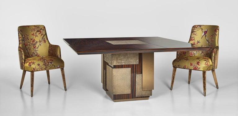 Modern Amazing Table Base and Top Polished Ebony Finish Decorative Insert For Sale