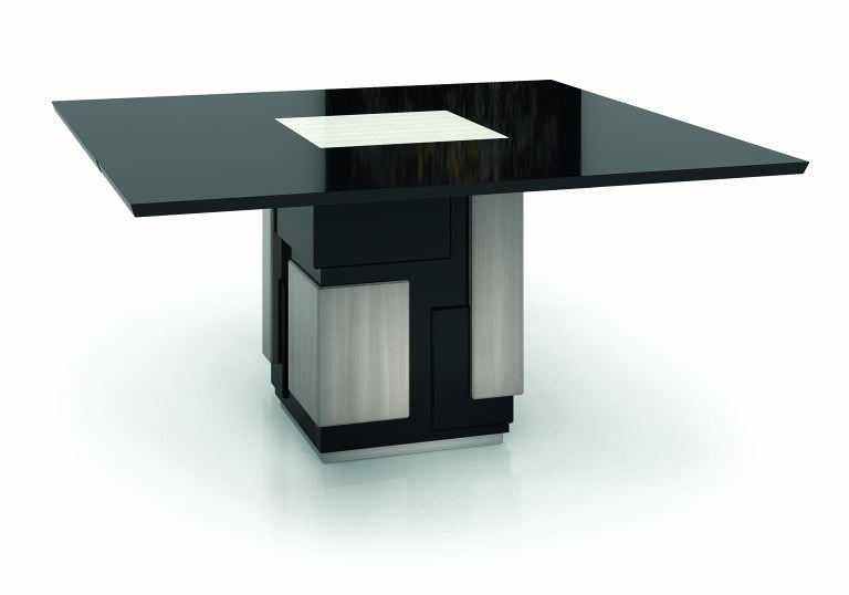 Contemporary Amazing Table Base and Top Polished Ebony Finish Decorative Insert For Sale