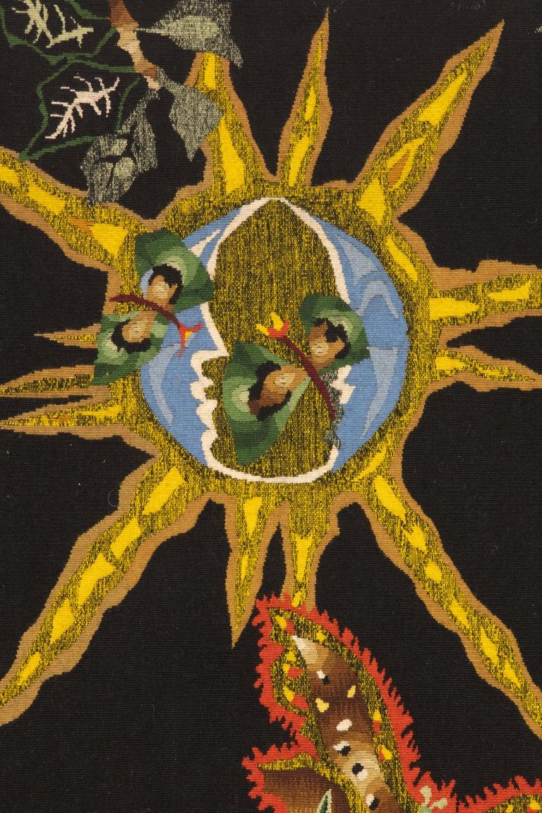 "Modern Amazing Tapestry by Jean Lurcat ""Black Cotonou"" For Sale"