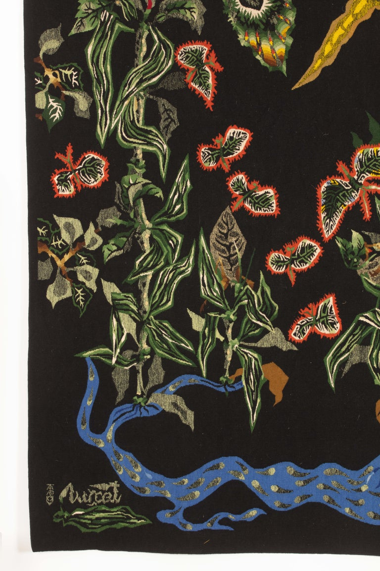 """French Amazing Tapestry by Jean Lurcat """"Black Cotonou"""" For Sale"""