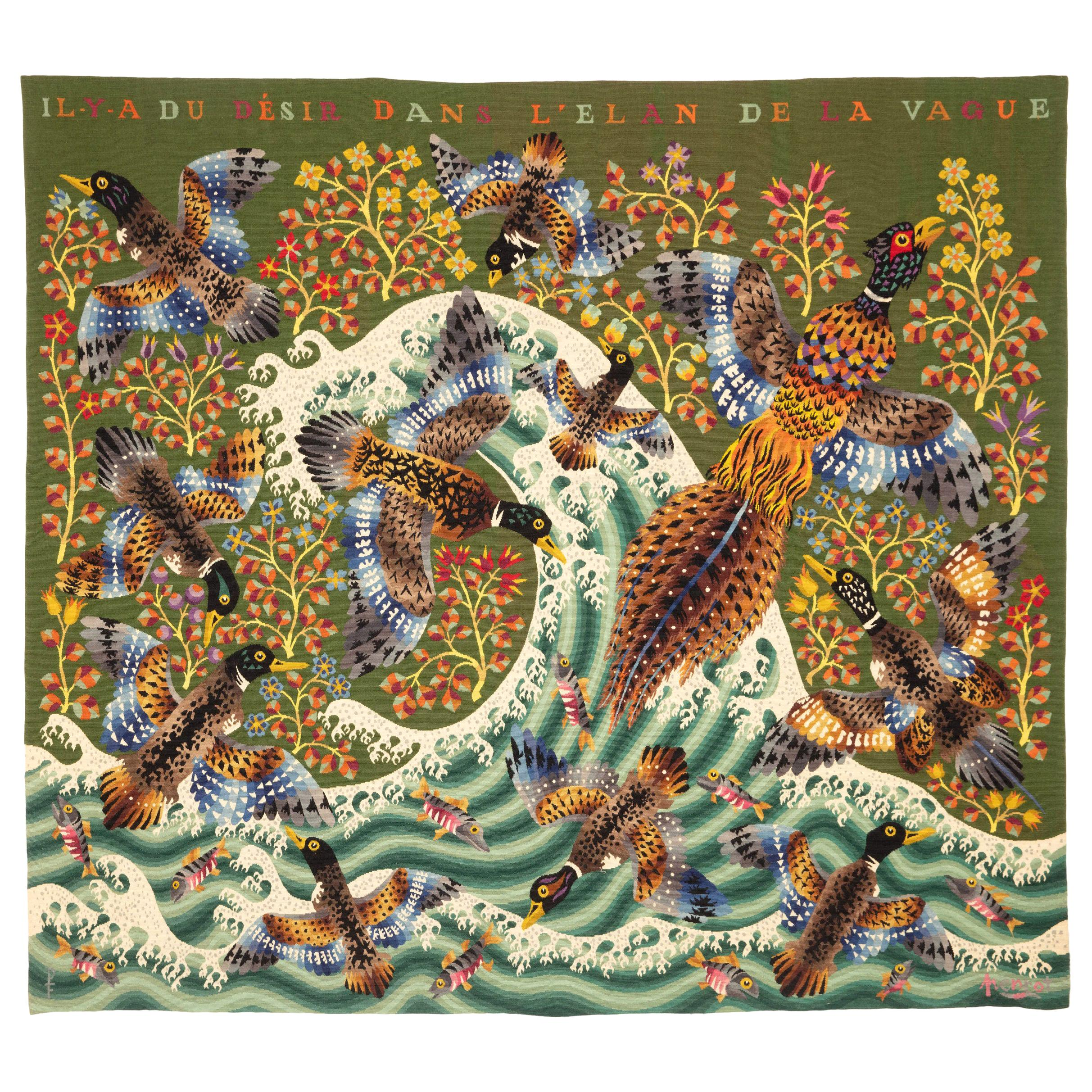 """20th century Amazing Tapestry by French artist René Perrot """"The Wave"""" in wool"""