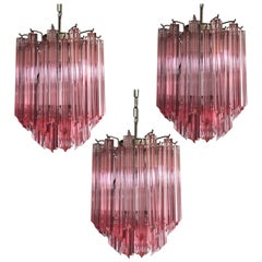 Amazing Trio of Quadriedri Glass Chandeliers, Pink Prism, Murano