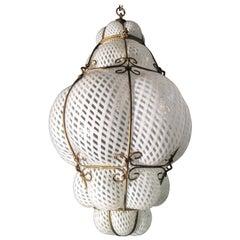 Amazing Venetian Lantern in Murano Reticello Glass, 1940s