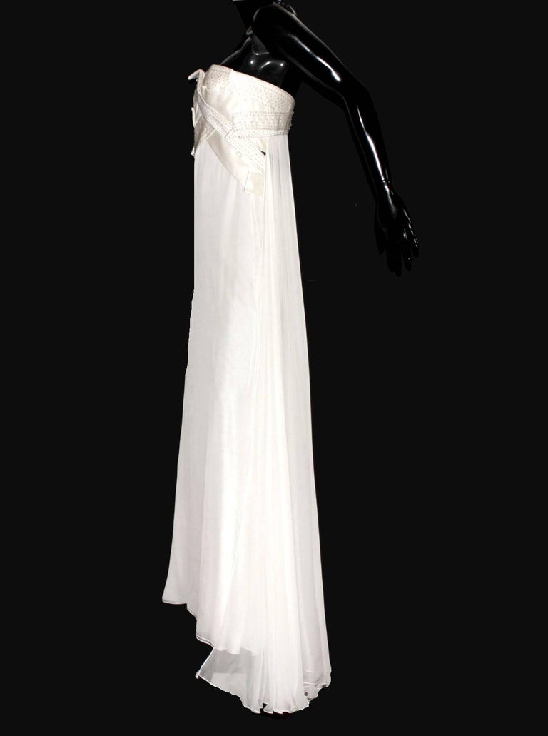 INCREDIBLE  VERSACE  GRECIAN GODDESS WHITE SILK BEADED EVENING GOWN          Gorgeous off-white evening gown inspired by the Grecian goddesses by VERSACE     Strapless with sexy semi-open back decollete     Beautiful details with discreet