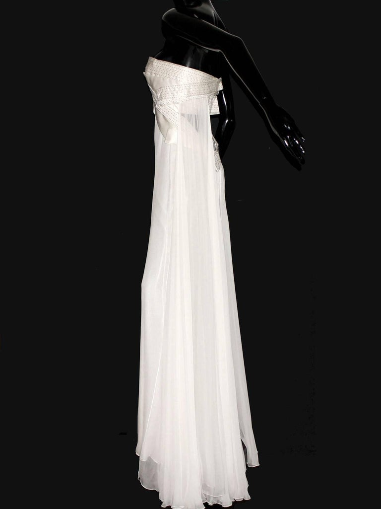 Gray Amazing Versace Strapless Beaded Goddess Evening Wedding Bridal Gown Dress For Sale