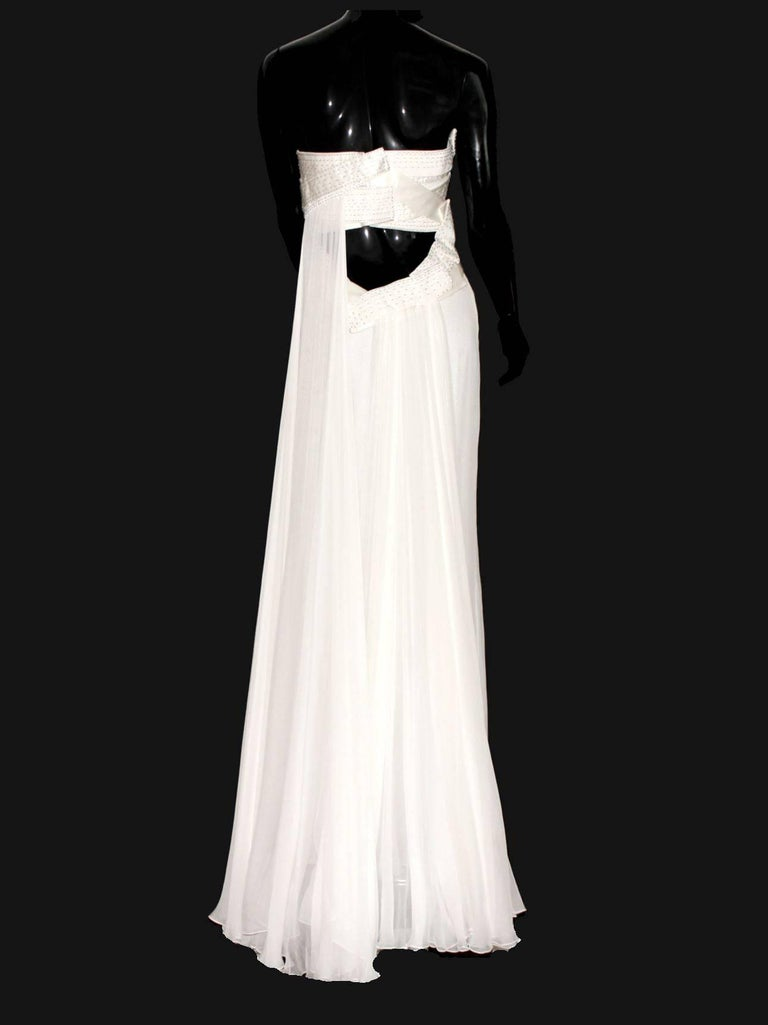 Amazing Versace Strapless Beaded Goddess Evening Wedding Bridal Gown Dress In Good Condition For Sale In Switzerland, CH