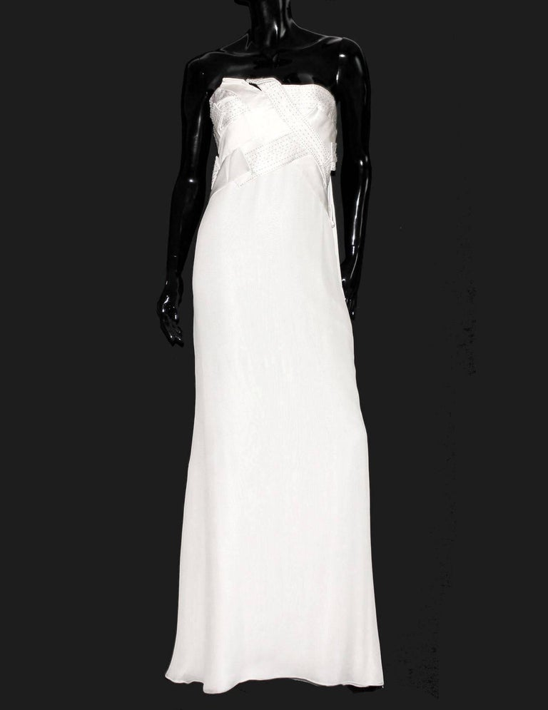 Women's Amazing Versace Strapless Beaded Goddess Evening Wedding Bridal Gown Dress For Sale