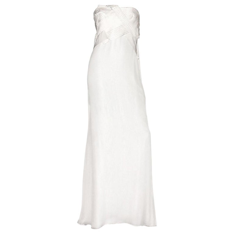 Amazing Versace Strapless Beaded Goddess Evening Wedding Bridal Gown Dress For Sale