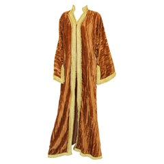 Amazing Vintage Caftan, Caramel Velvet and Gold Embroidered, ca. 1960s