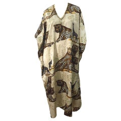 Amazing Vintage Tiger King Animal Print Silky Sequin Beaded Caftan Maxi Dress