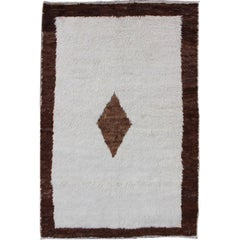 Amazing Vintage Turkish Tulu Rug with a minimalist Design in Off Withe and Brown
