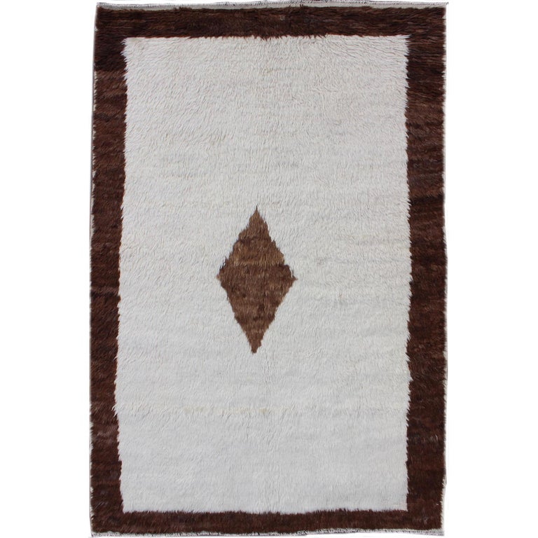 Amazing Vintage Turkish Tulu Rug with a minimalist Design in Off Withe and Brown For Sale