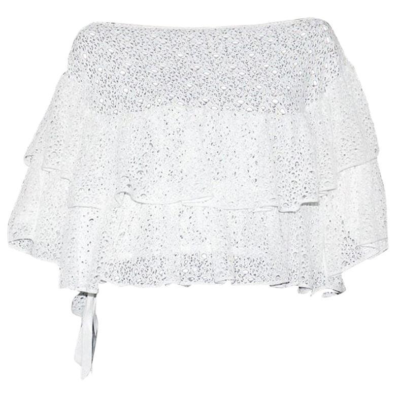 Amazing White Chanel Crochet Knit Carmen Style Cold Shoulers Blouse Top
