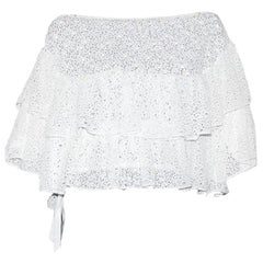 Amazing White Chanel Crochet Knit Carmen Style Cold Shoulers Blouse Top