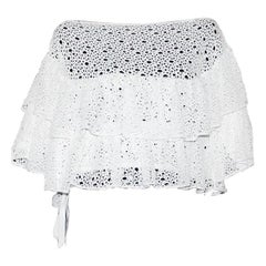 Amazing White Chanel Crochet Knit Cold Shoulers Blouse Top