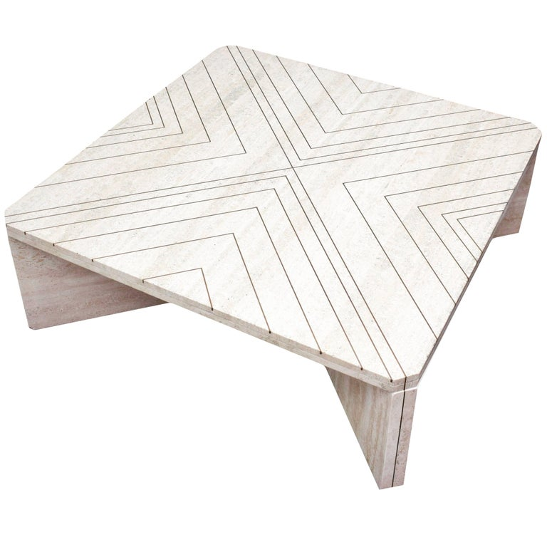 Amazing Willy Rizzo Coffee Table in Travertine Marble and Brass, circa 1970
