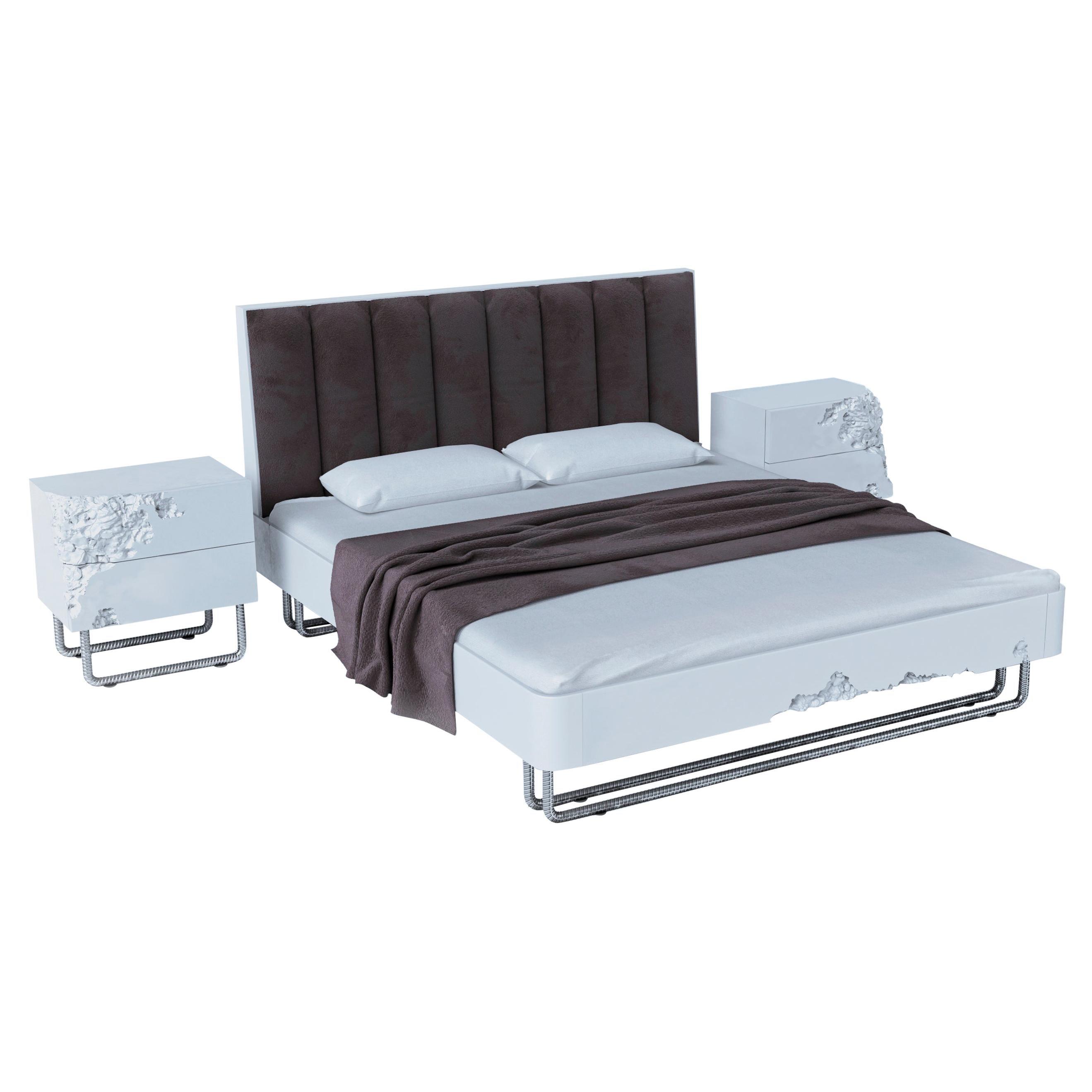Amazing Wooden Bedroom Set 'bed + 2 bedside tables'