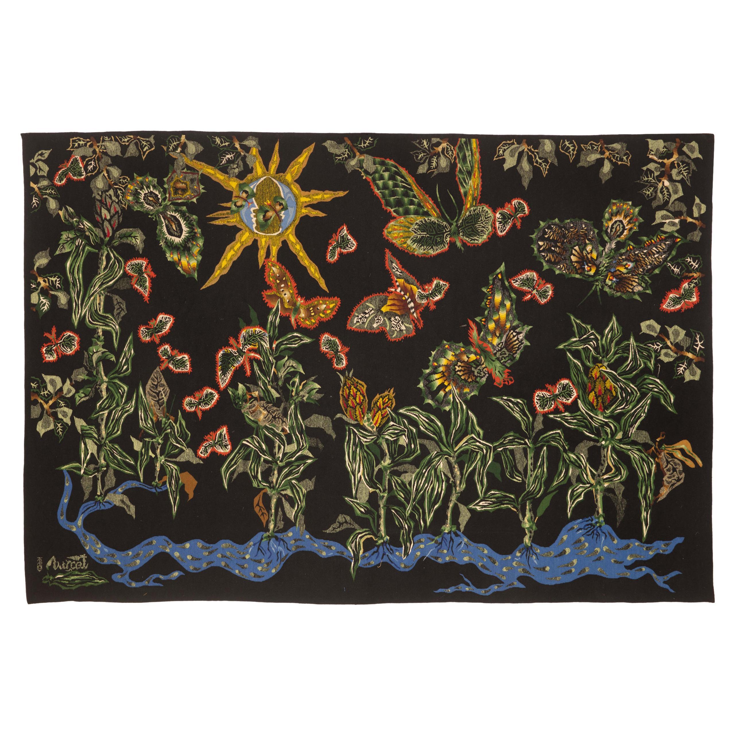 "Amazing Wool Tapestry by Jean Lurçat ""Black Cotonou"", Tabard Frères et Soeurs"