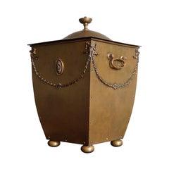 Amazingly Original, Late 1800s Handcrafted Bronze & Brass Fireplace Coal Bucket