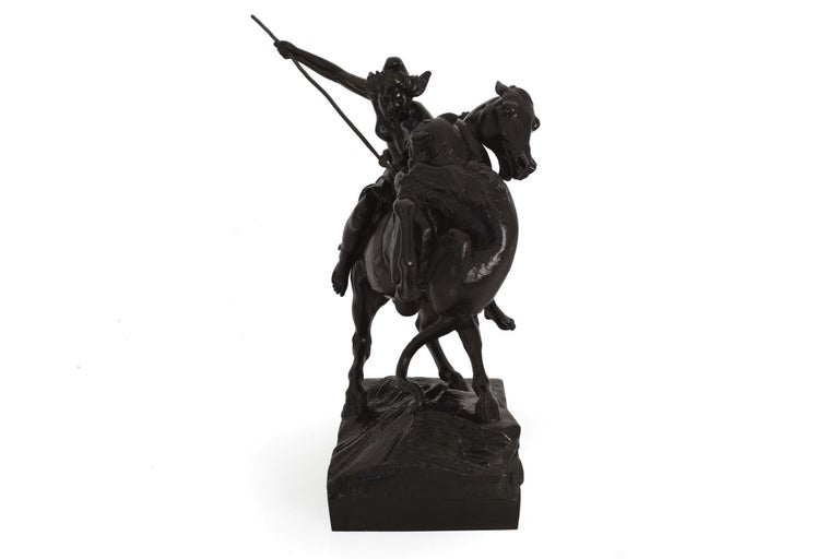 """""""Amazonian Fighting a Tiger"""" German Antique Bronze Sculpture by August Kiss In Good Condition For Sale In Shippensburg, PA"""