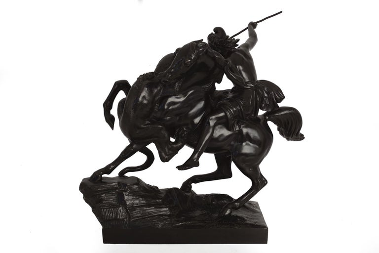 """19th Century """"Amazonian Fighting a Tiger"""" German Antique Bronze Sculpture by August Kiss For Sale"""