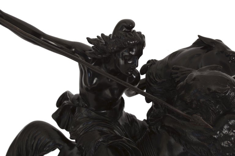 """""""Amazonian Fighting a Tiger"""" German Antique Bronze Sculpture by August Kiss For Sale 3"""