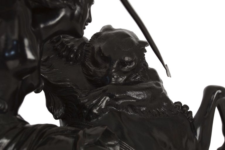 """""""Amazonian Fighting a Tiger"""" German Antique Bronze Sculpture by August Kiss For Sale 5"""