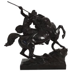 """""""Amazonian Fighting a Tiger"""" German Antique Bronze Sculpture by August Kiss"""