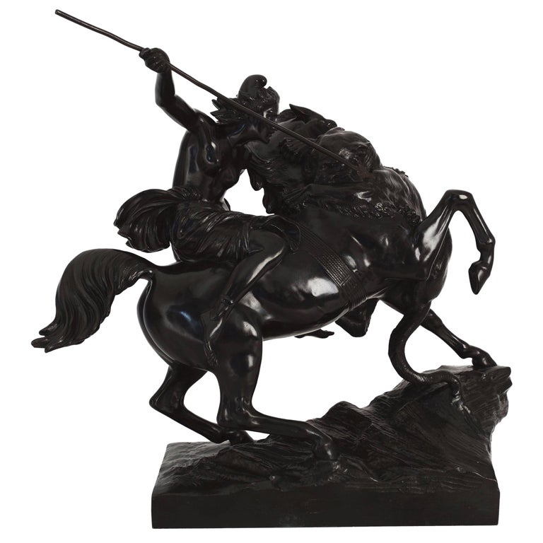 """""""Amazonian Fighting a Tiger"""" German Antique Bronze Sculpture by August Kiss For Sale"""